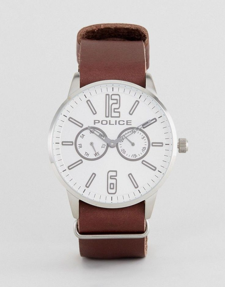 Police Esquire Watch In Brown With White Dial - Brown