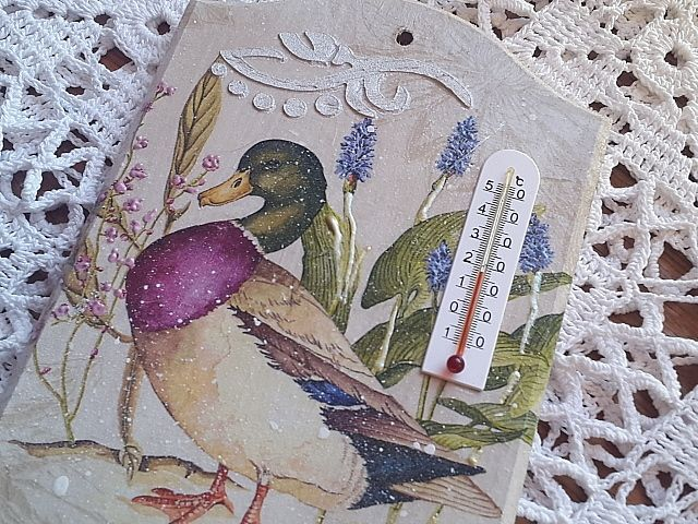 decoupage - thermometer,  handmade by Joanna