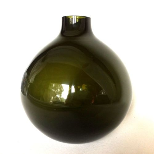 a28-WIESENTHALHUTTE-60er-GLASVASE-gruen-MID-CENTURY-19-cm-Vase-Glas