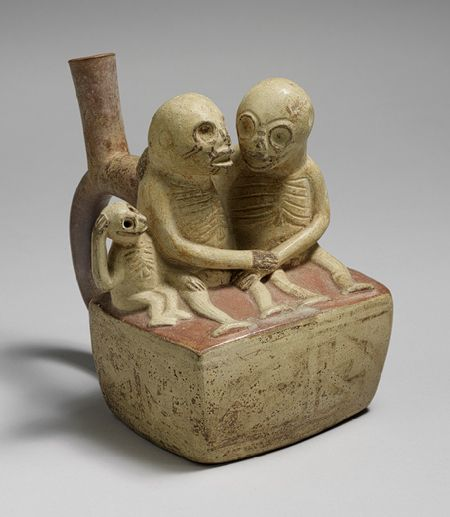 Bottle, Skeletal Couple with Child, 3rd–7th century  Peru, Moche  Ceramic  6 7/8 x 5 5/8 x 6 3/8 in. (17.5 x 14.3 x 16.2 cm)  The Michael C. Rockefeller Memorial Collection, Purchase, Nelson A. Rockefeller Gift, 1967 (1978.412.196)  Met Museum