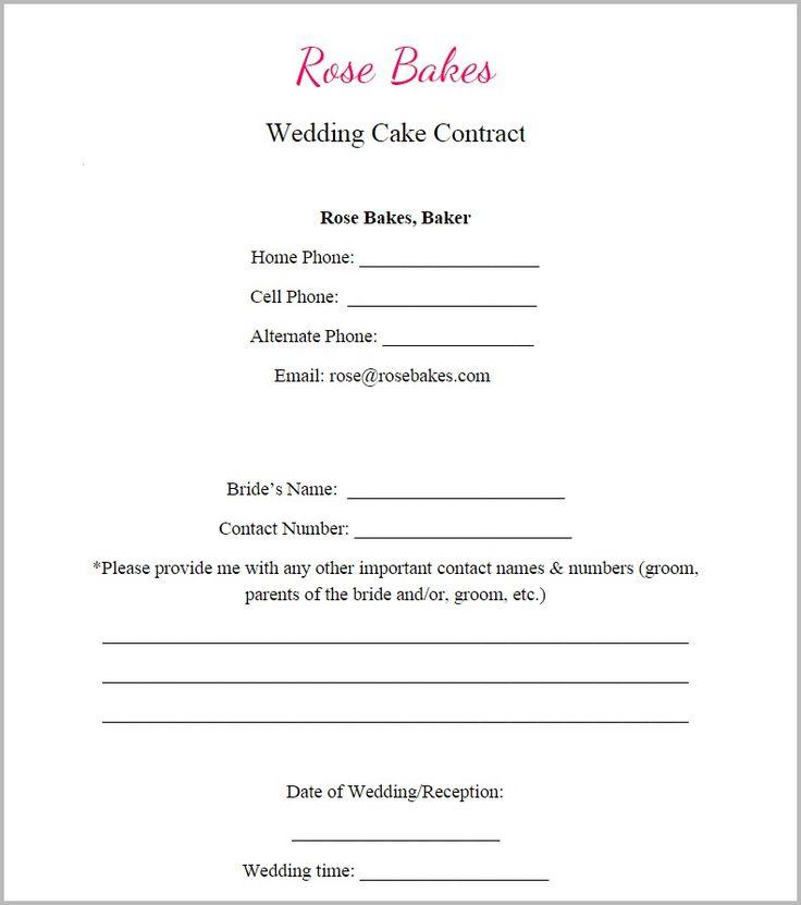 Wedding Cake Order Form Templates: Generic Blank Wedding Cake Contract