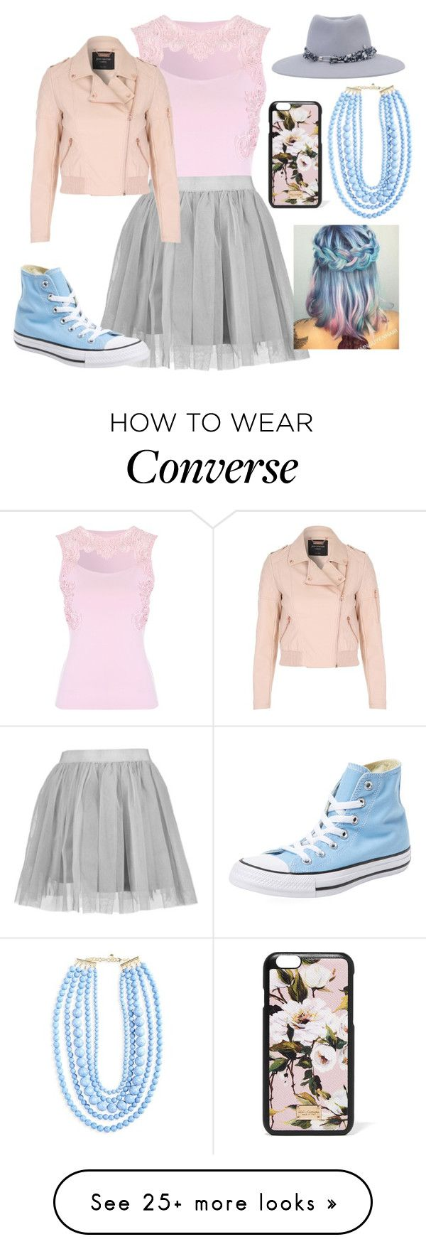 """Untitled #980"" by twisted-magic on Polyvore featuring Jane Norman, Boohoo, BaubleBar, Dolce&Gabbana, Maison Michel and Converse"