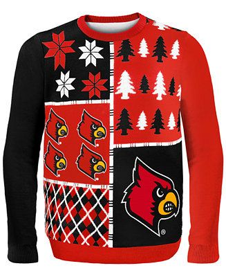 For the sports fan-- Forever Collectibles Men's Louisville Cardinals Christmas Sweater at Macy's CA #UglySweater #Swagbucks #CandyCaneGang Carnival90 @swagbucks