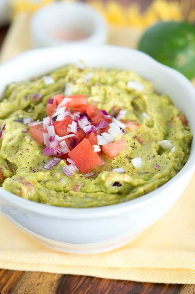 The secret for a perfect guacamole is to use good, ripe avocados. If the avocados are very soft when you press them gently, the avocado may be past ripe and not good anymore. Choose avocados that are slightly soft when you gently press them. Also, the outside color should be dark green but not too dark. Another way to check if the avocados are ripe is to pop off the little stem on top, and if the patch underneath is brown – it means the avocado is overripe, it should be nice green. I love…