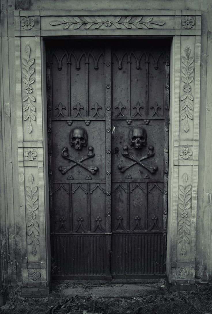Black Skull and crossbones Door - taphophilia - Don't OPEN  by dethangel91