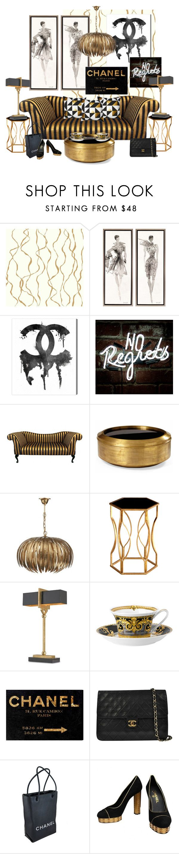 Black, Gold, and Chanel...No Regrets! by kimberlyd-2 on Polyvore featuring interior, interiors, interior design, home, home decor, interior decorating, Versace, Oliver Gal Artist Co., EASTON and Chanel