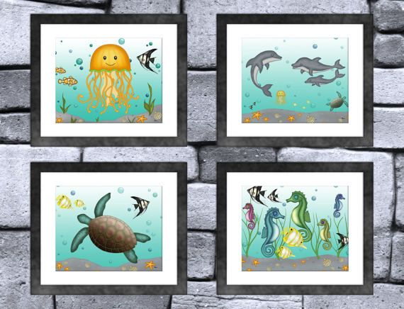 Cute Sea Creature Animal Fine Art Print Set of 4: Jellyfish, Dolphins, Sea Turtle and Seahorses.  These prints would be a perfect way to decorate your childs room or nursery but are suitable for any age or gender.  Set Size: 3 - Jellyfish, Dolphins, Sea Turtle and Seahorses Print Size: 8 x 10 inches  Each print is printed on archival 251 gsm semi-gloss photographic paper.  Picture frames are not included.  Please allow 3-5 business days to be shipped as the prints are made to order. The 8x10…