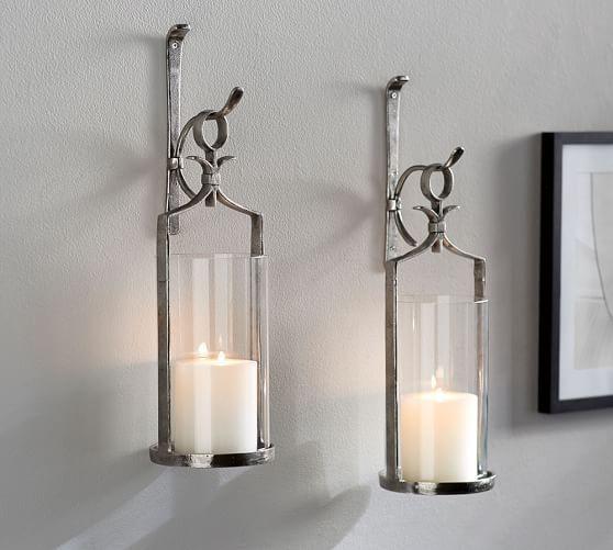 Artisanal Wall-Mount Candleholder - Silver   Pottery Barn