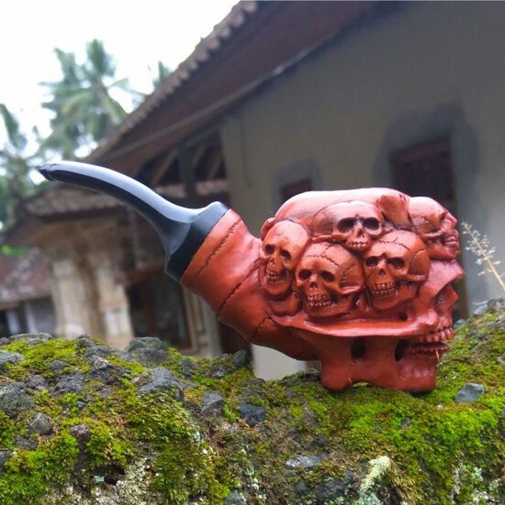 Hand Carved Wooden Tobacco Pipes Human Skulls Carving Ebonit Stem #11