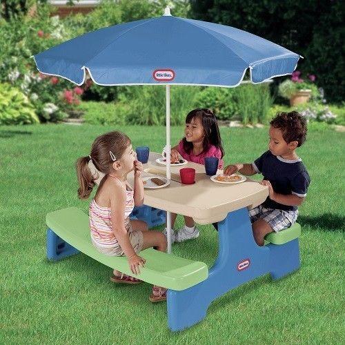 Kids Picnic Table Outdoor Children Play Bench Furniture Plastic Patio Umbrella #LittleTikes
