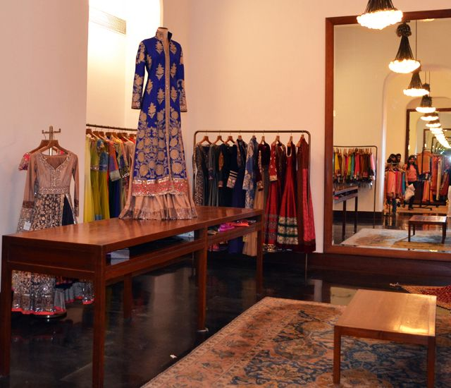 Manish Malhotra's new shop. The #lehenga behind the table - really wish I could find a photo of that one.