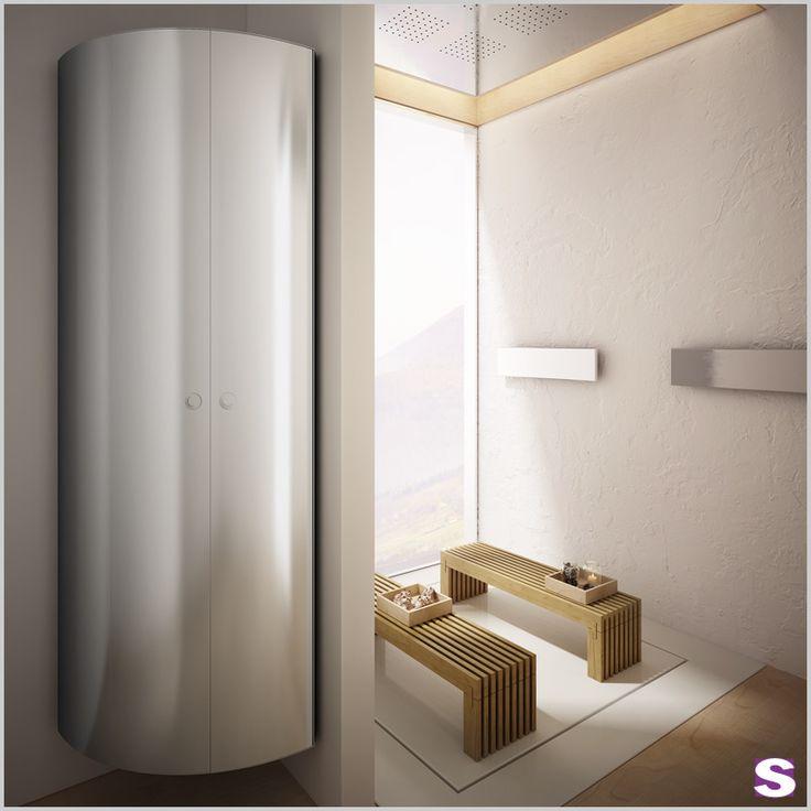 Design Badheizkörper Diogo - SEBASTIAN e.K. – Hinter den schlichten Formen des Designs verbirgt sich eine raffinierte Technologie, entworfen als Bademantel- und Handtuchhalter, um diese stets trocken und warm zu halten.  Aluminium und Edelstahl – #design #schrank #bad