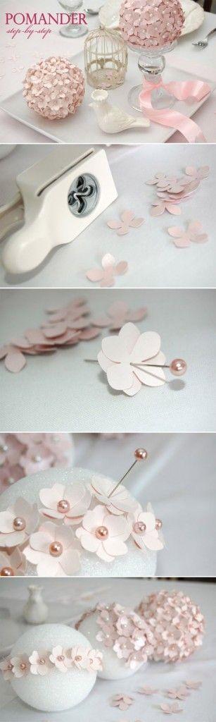 centrotavola fai da te con fiori di carta - DIY centerpieces