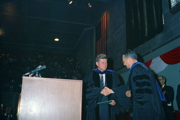 Conservation Tour of Western States: North Dakota, Grand Forks: President Kennedy's address at University of North Dakota, and University President Dr. George Starcher - John F. Kennedy Presidential Library & Museum