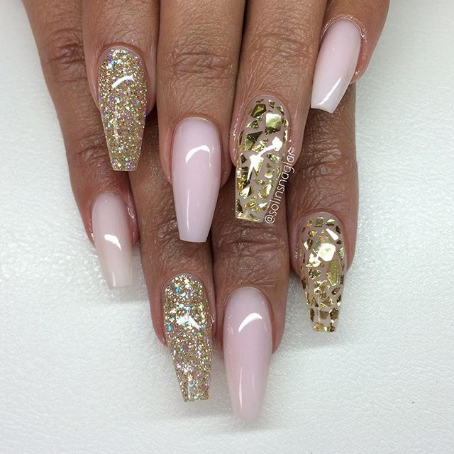 baby pink with glitter nails<3
