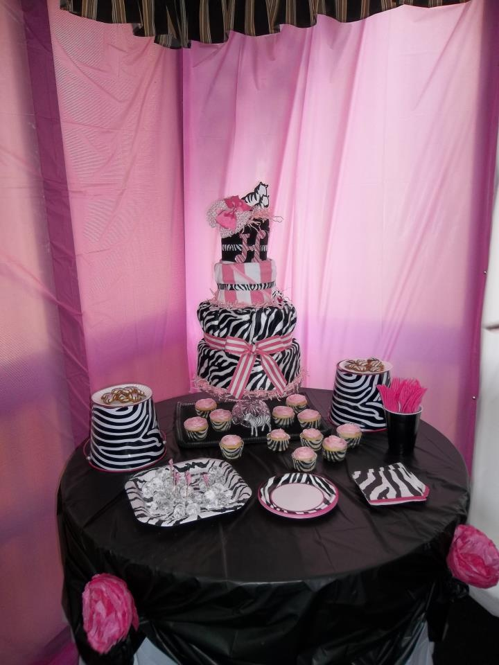 A Pink Zebra diaper cake for Baby Shower. Bottom is a body