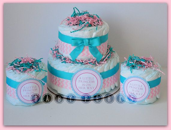 Princesa rosa aqua pañal poco pastel pastel de pañales por MsPerks