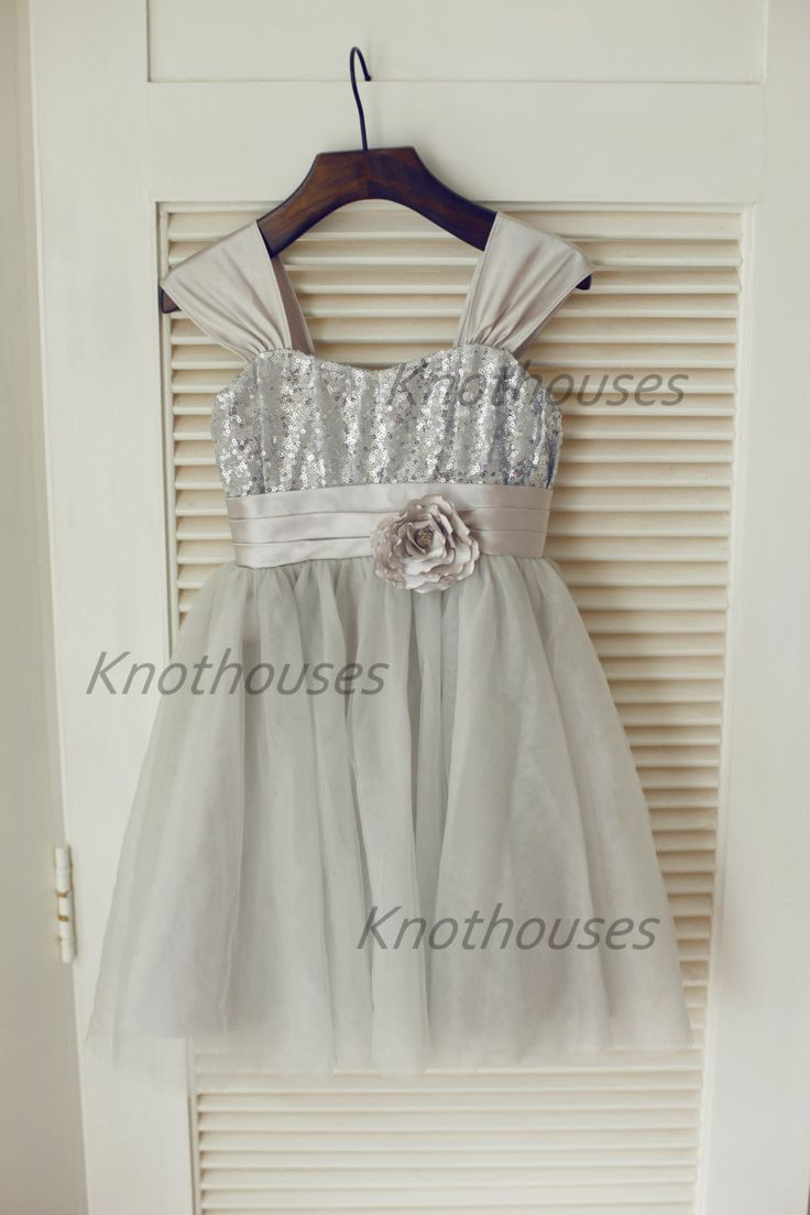 39 best robe solne images on pinterest marriage flower girls silver sequin gray tulle flower girl dress children toddler party dress for wedding junior bridesmaid dress from knothouses ombrellifo Gallery