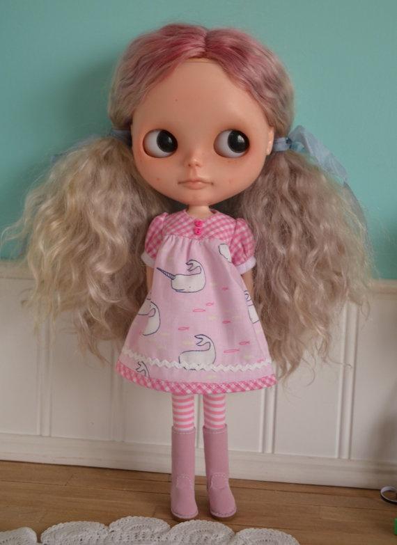 Smock Dress for Blythe  Pink Narwhals by LaPetitePamplemousse, $15.00