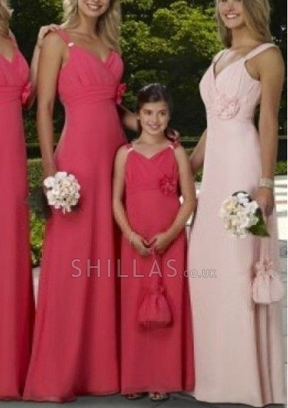 Shoulder Straps A-line Chiffon Bridesmaid Dresses With Ruched And V-neck - 1640093 - Bridesmaid Dresses