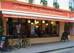Govinda's: Fantastic vegan cafe run by Hari Krishna organization.  Address: 10 Soho St, London, Greater London W1D 3DL, United Kingdom