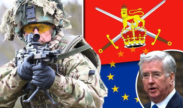Is an EU army REALLY happening? Now Michael Fallon calls for MERGE with British forces  FEARS British armed forces could be dragged into an EU army have escalated after Michael Fallon said UK troops should further integrate with their European counterparts.  By TOM BATCHELOR PUBLISHED: 10:00, Fri, Apr 22, 2016  Michael Fallon has revealed his controversial plans over an integrated EU army