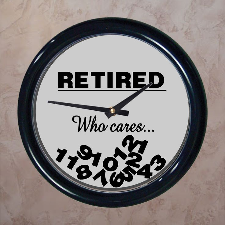 """Who cares what time it is when you're retired. This funny retirement clock design is titled, """"RETIRED"""" and has all of the clock face numbers fallen to the bottom because who cares what time it is when you're retired. Take this funny retirement gift a step further and don't include a battery with it when you gift it because… time really doesn't matter when you're retired."""