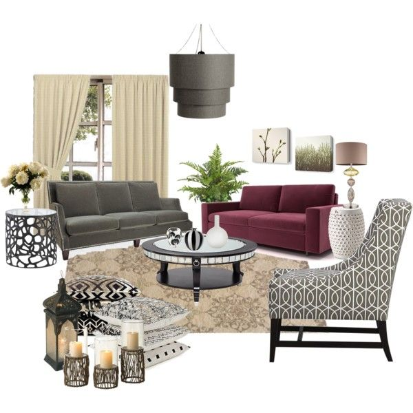 I like the idea of bringing some grey black and cream we for Living room ideas with burgundy sofa