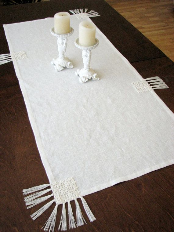 CIJ sale.Linen table runner white/ivory color with natural linen yarn crocheted motifs and tassels