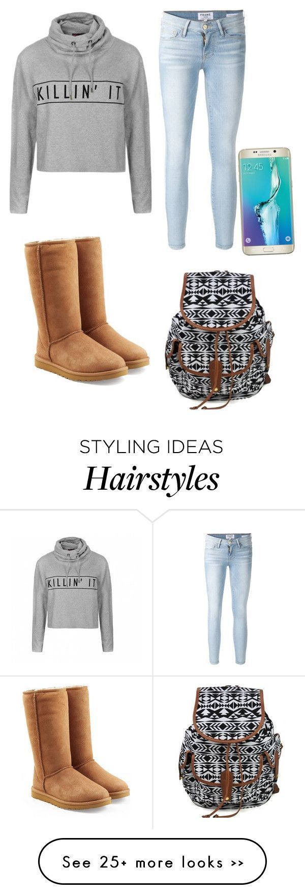 """me and maddy are having a girls day we are getting are nose pierced,hair dyed,and getting a tattoo"" by akat1021 on Polyvore featuring Ally Fashion, Frame Denim, UGG Australia and Samsung"