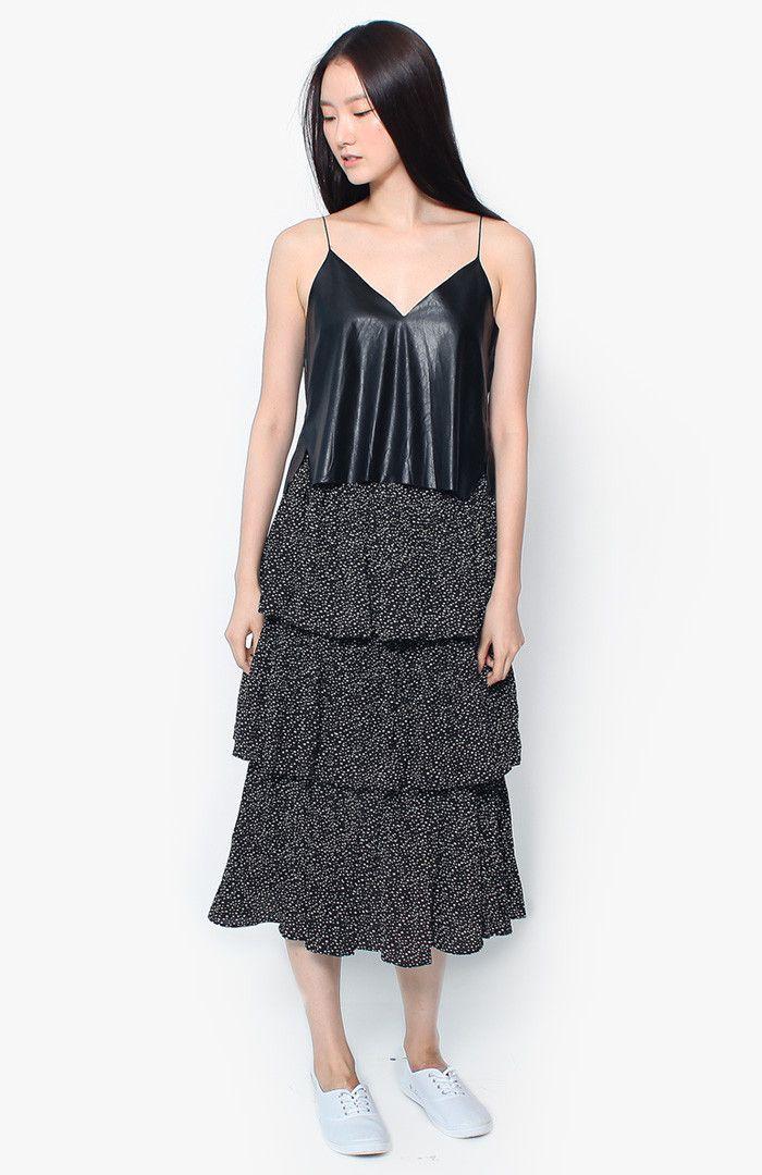 Anais Tiered Skirt - Black