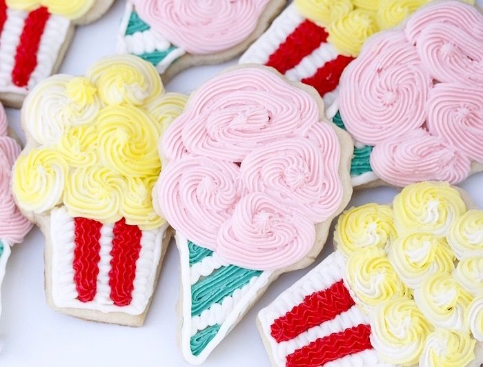 Cotton candy and popcorn sugar cookies from a Vintage Carnival Birthday Party at Kara's Party Ideas.