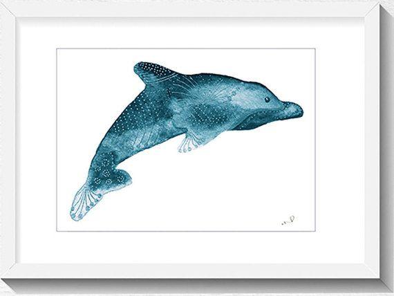 Dolphin Painting coastal prints Nautical Home Decor Beach Art Print Nursery Art Print Watercolor Dolphin Archival Print, Coastal Beach Decor