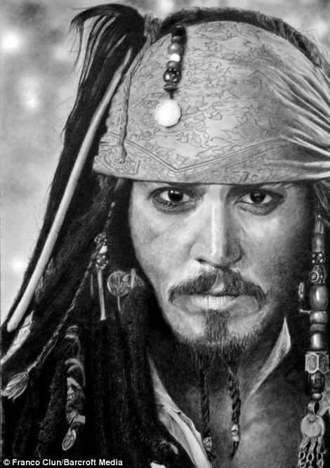 Hyper realistic pencil drawings by franco clun johnny depp as captain jack sparrow