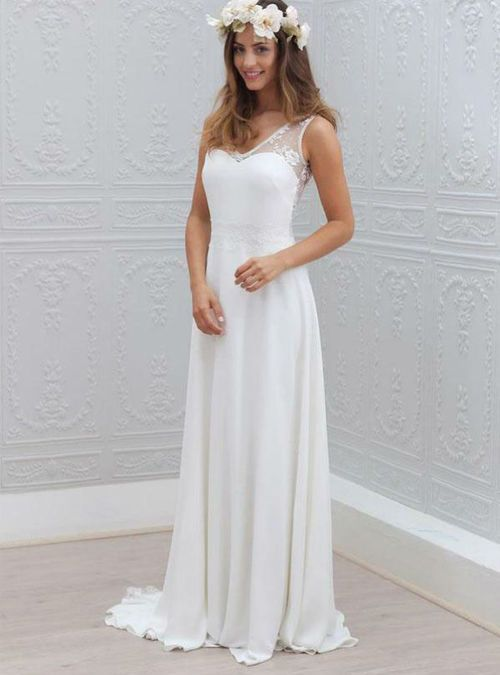 Superb Open Back Bridal Dress Chiffon V Neck Wedding Gowns Lace Sleeveless White Wedding Dress