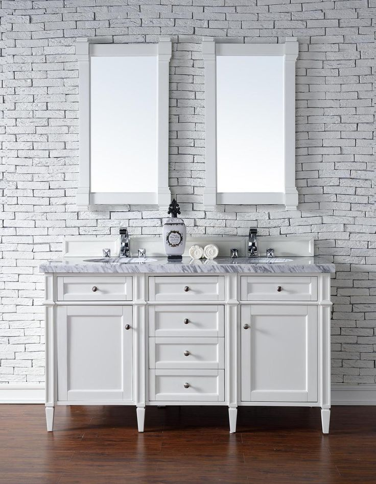 Contemporary 60 Inch Double Sink Bathroom Vanity Cottage White Finish,  Http://www