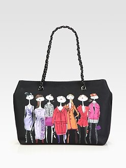Love Moschino - Printed Satin Tote/Black