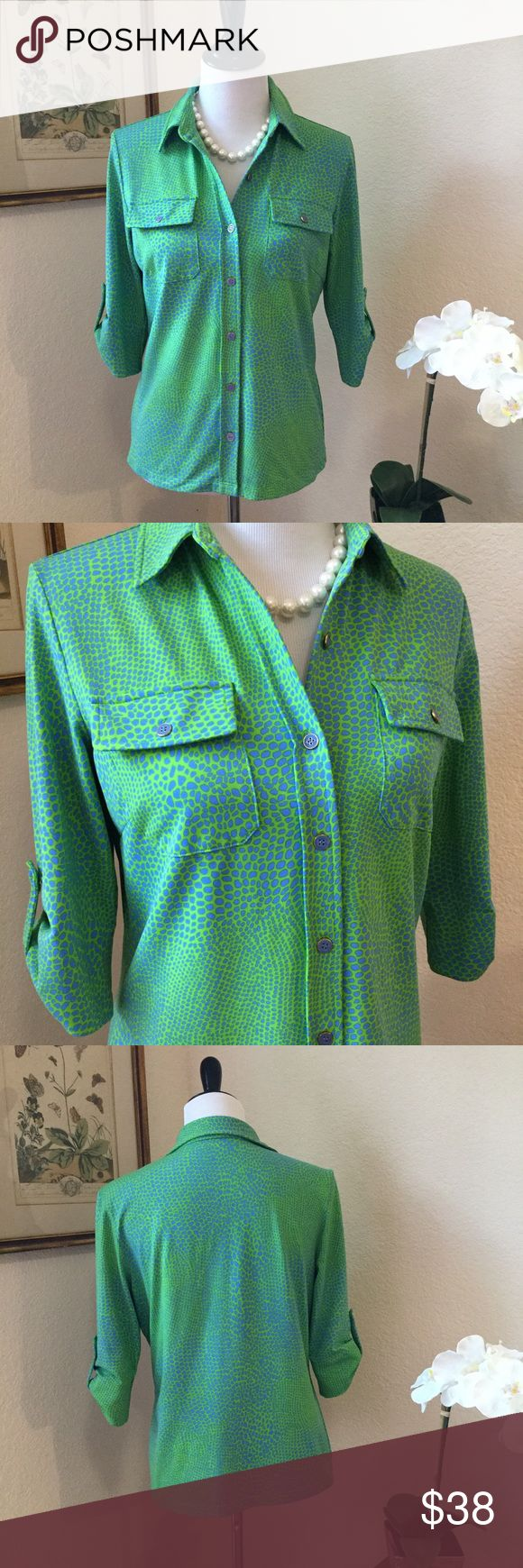 J McLAUGHLIN Blue & Green Animal Print Top Beautiful nylon and spandex blend button front shirt in cool colors of lime green and ocean blue. This fabulous blouse has two front pockets, 3/4 length sleeves and cute blue buttons. In A+ excellent condition. Wear with white pants or shorts this summer! J. McLaughlin Tops Blouses