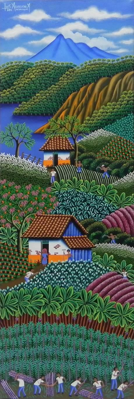 Título:Campesinos Trabajando La Siembra. Artista:Luis Alvarado Namoyuri. Técnica:Oleo sobre Lienzo. Año:2011. Lugar:Masaya.