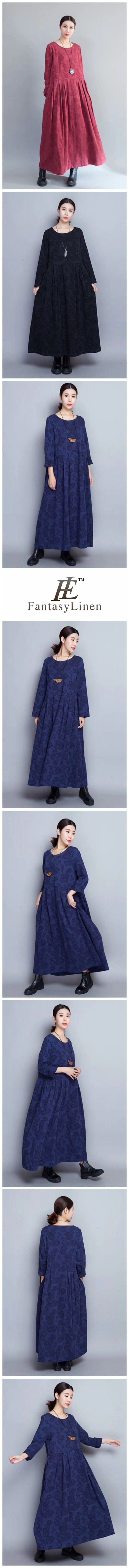 Flower Long Sleeve Casual Maxi Dresses Women Clothes in Blue 8007 8007Blue