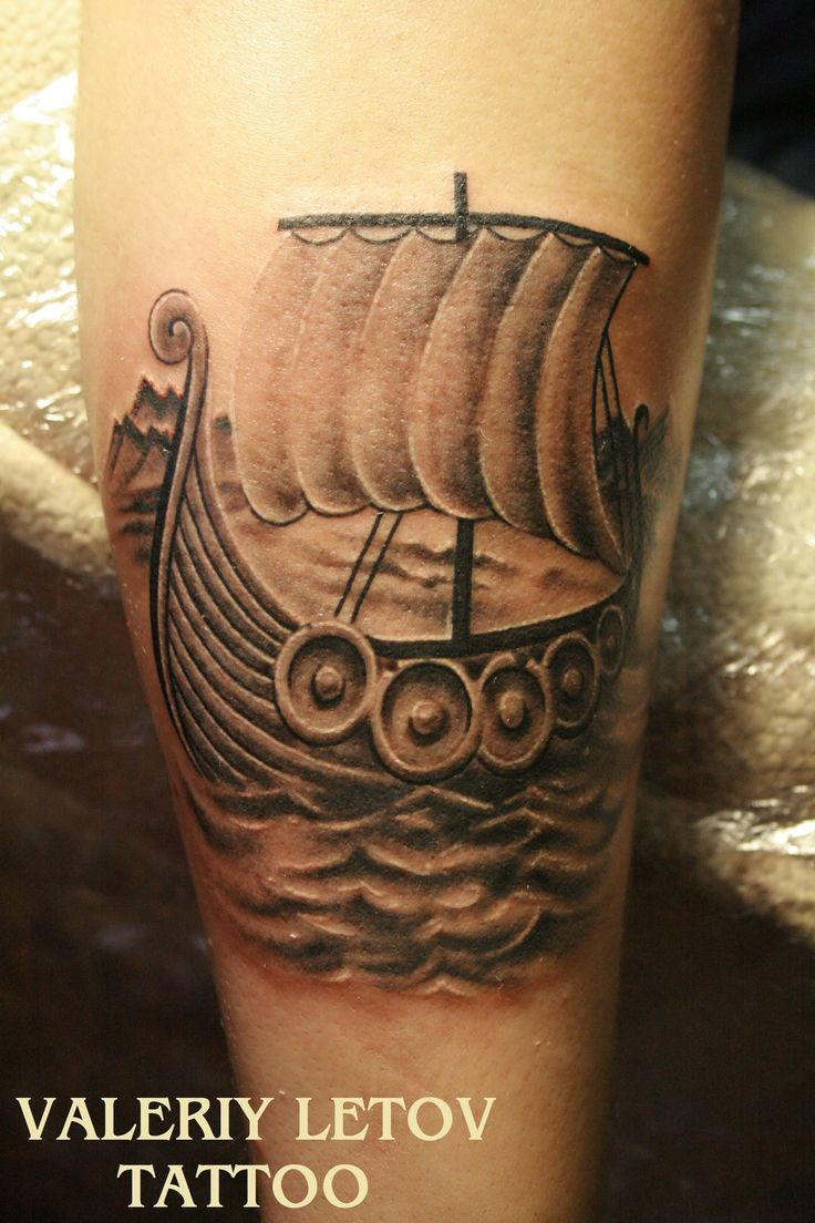 Viking Ship tattoo by ValeriyLetov