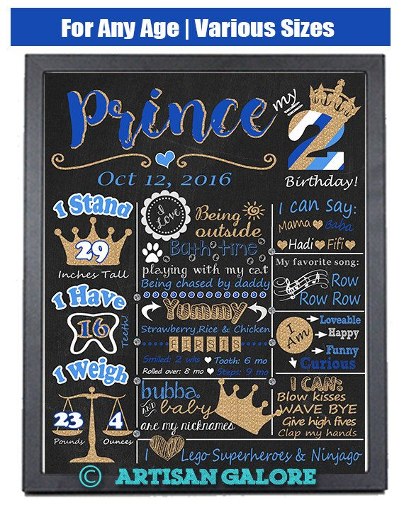 Prince Birthday Chalkboard Poster 2nd birthday Printable, Prince Royal Blue Gold First Birthday Chalkboard Sign, Little Prince, Any Age by ArtisanGalore on Etsy