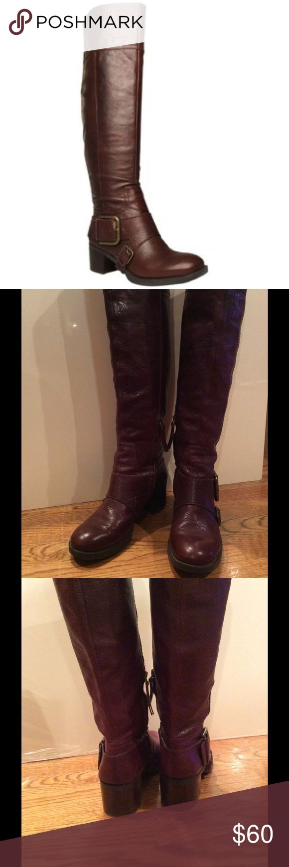 "Nine West ""Clara"" brown leather knee high boots Almost like new .Only wore once so they have some scuffs on the heels. Nine West ""Clara"" brown leather boots sz 7, 2"" heel, 17 1/2"" shaft. Partial side zippers. Runs a little big. I usually wear 7.5 but these fit me perfectly even with socks. Nine West Shoes Over the Knee Boots"