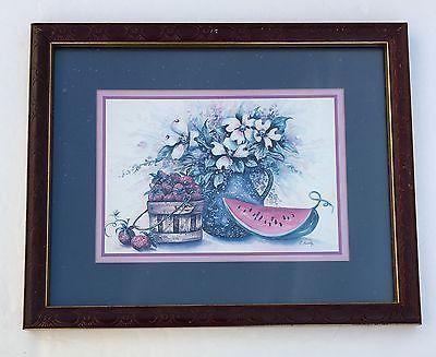 details about vintage home interiors homco f buckley watermelon strawberries vase basket
