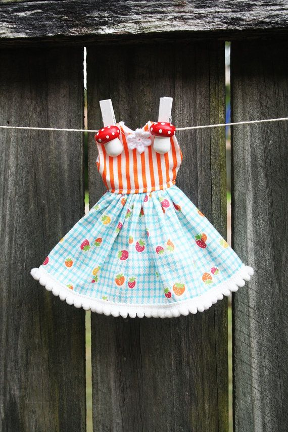 Blue Checked Full Skirted Dress with Pompom Trim by tasha2shoes, $12.00