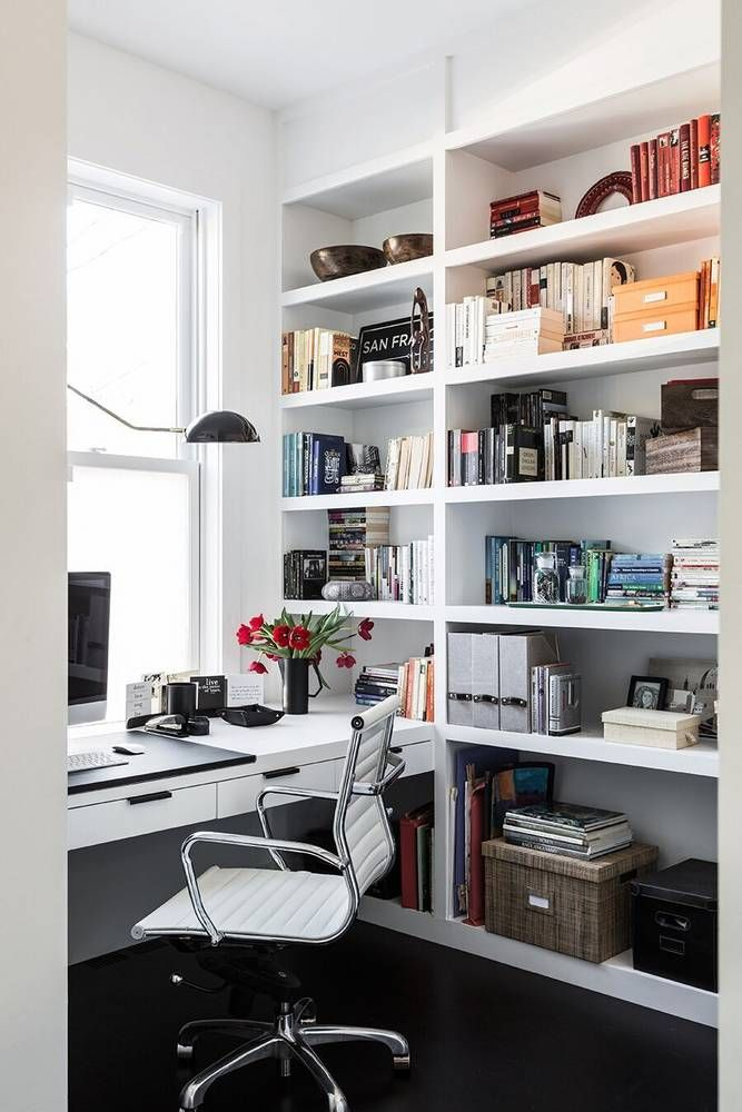 an affordable black and white and modern home decor renovation office - Modern Home Office