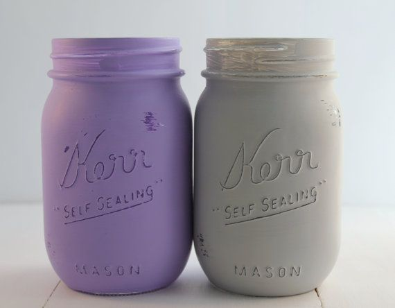 Painted Mason Jars- Light Lavender Mason Jar, Purple and Light Grey painted mason jars- wedding decor, baby shower decor, home decor on Etsy, $12.00