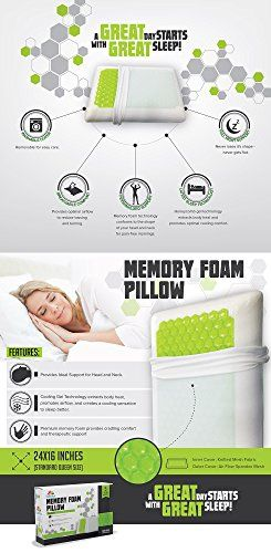 Equinox Cooling Gel Memory Foam Pillow - 24x16 inches, Standard/Queen Size Bed Pillow - New Cooling Gel Technology with Removable Pillow Case - Dust Mite Resistant and Hypoallergenic //http://bestadjustablebed.us/product/equinox-cooling-gel-memory-foam-pillow-24x16-inches-standardqueen-size-bed-pillow-new-cooling-gel-technology-with-removable-pillow-case-dust-mite-resistant-and-hypoallergenic/