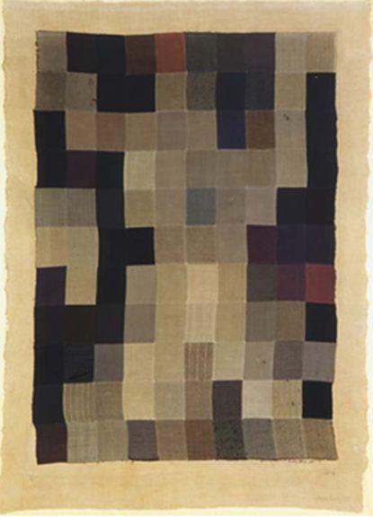 Tapestry by MAN RAY is made up of fabric swatches from his father's tailor shop (Pompidou, 1911).