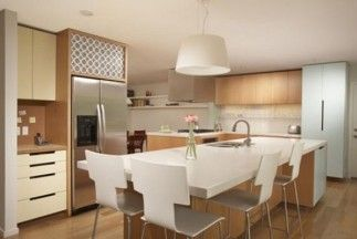 Furniture Awesome Ways to Pick the Faultless Kitchen Furniture: Luxury Kitchen Seating Full Size White Along With High Gloss Laminate Flooring Plus Shade White Pendant Lamp Plus Side By Side Refrigerator In Stainless Steel